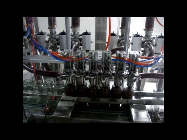 دستگاه پر کننده مایع بطری پیستونی 4 سر اتوماتیک خطی